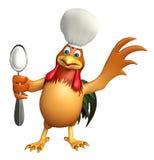 Personaggio dei cartoni animati di Chiken con il cappello ed il cucchiaio del cuoco unico Immagine Stock Libera da Diritti