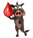 Personaggio dei cartoni animati di FunBoar con goccia del sangue Immagini Stock
