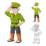 Personaggio dei cartoni animati di generale Army con la posa della mano di saluto Fotografie Stock