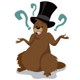 Personaggio dei cartoni animati di giorno della marmotta isolato Fotografie Stock