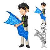 Personaggio dei cartoni animati di piano della mappa di Holding Blue Print dell'architetto dell'uomo d'affari royalty illustrazione gratis
