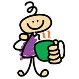 Personaggio dei cartoni animati di tempo del caffè disegnato a mano Fotografie Stock Libere da Diritti