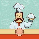 Personaggio dei cartoni animati di vettore - cuoco del cuoco unico con il piatto Immagini Stock Libere da Diritti