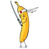 Personaggio dei cartoni animati di vettore - samurai della banana con la spada royalty illustrazione gratis