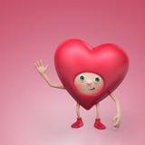 Personaggio dei cartoni animati divertente del cuore del biglietto di S. Valentino Fotografie Stock Libere da Diritti