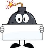 Personaggio dei cartoni animati divertente della bomba che tiene un'insegna Immagini Stock Libere da Diritti
