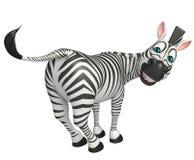 Personaggio dei cartoni animati divertente della zebra Immagini Stock