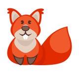 Personaggio dei cartoni animati divertente dello scoiattolo Icona sveglia Immagine Stock