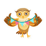 Personaggio dei cartoni animati Emoji di Owl Holding Paper Garland Cute con Forest Bird Showing Human Emotions e comportamento Immagini Stock