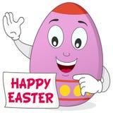 Personaggio dei cartoni animati felice dell'uovo di Pasqua Fotografie Stock