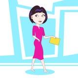 Personaggio dei cartoni animati giallo di camminata della cartella della tenuta della giovane donna sopra fondo astratto variopin illustrazione di stock