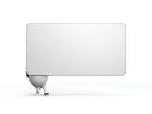 Personaggio dei cartoni animati Holidng un grande segno in bianco Fotografie Stock Libere da Diritti