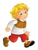 Personaggio dei cartoni animati meravigliosamente colorato - il giovane guardare qualcosa ha interessato - isolato Immagine Stock