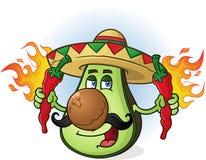 Personaggio dei cartoni animati messicano dell'avocado che tiene Chili Peppers caldo Fotografia Stock