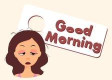 Personaggio dei cartoni animati sonnolento Scena antiquata di mattina: macchina da scrivere antica, tazza di caffè fresco, contra Fotografie Stock