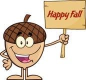 Personaggio dei cartoni animati sorridente della ghianda che tiene un bordo di legno con la caduta felice del testo Fotografia Stock Libera da Diritti