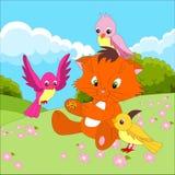 Personaggio dei cartoni animati sveglio con gli uccelli che mangiano da una mano sui precedenti di un paesaggio di aria aperta de royalty illustrazione gratis