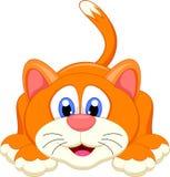 Personaggio dei cartoni animati sveglio del gatto illustrazione di stock