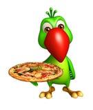 personaggio dei cartoni animati sveglio del pappagallo con pizza Fotografie Stock