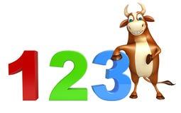 Personaggio dei cartoni animati sveglio del toro con il segno 123 Fotografia Stock Libera da Diritti