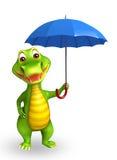 Personaggio dei cartoni animati sveglio dell'alligatore con l'orologio Fotografia Stock