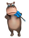 Personaggio dei cartoni animati sveglio dell'ippopotamo con la chitarra Fotografia Stock