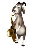 Personaggio dei cartoni animati sveglio della capra con il sassofono Immagini Stock Libere da Diritti