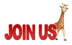 Personaggio dei cartoni animati sveglio della giraffa con l'unire noi segno illustrazione di stock
