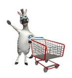 Personaggio dei cartoni animati sveglio della zebra con il carrello Fotografie Stock Libere da Diritti