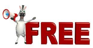 Personaggio dei cartoni animati sveglio della zebra con il segno libero Immagine Stock