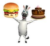 Personaggio dei cartoni animati sveglio della zebra con l'hamburger ed il dolce Immagini Stock