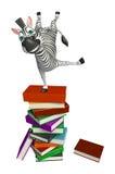 Personaggio dei cartoni animati sveglio della zebra con la pila di libro Immagini Stock Libere da Diritti
