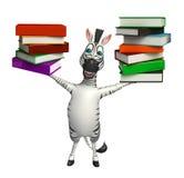Personaggio dei cartoni animati sveglio della zebra con la pila di libro Fotografie Stock Libere da Diritti