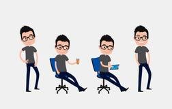 Personaggio dei cartoni animati sveglio: giovane tipo con i vetri nelle pose differenti illustrazione di stock
