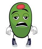 Personaggio dei cartoni animati verde oliva stanco royalty illustrazione gratis