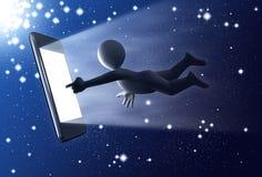 Personaje 3D con el teléfono táctil en el universo ilustración del vector