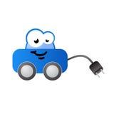 Personaje de dibujos animados aprovisionado de combustible eléctrico del coche Foto de archivo libre de regalías