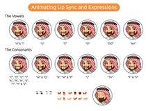 Personaje de dibujos animados de Arabia Saudita del hombre para la sincronización y las expresiones de animación de labio libre illustration