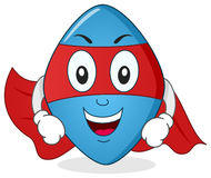 Personaje de dibujos animados azul del super héroe de la píldora Imagenes de archivo
