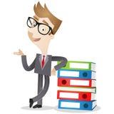 Personaje de dibujos animados: Carpetas del hombre de negocios Foto de archivo libre de regalías