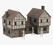 Personaje de dibujos animados con building20 medieval Imagen de archivo libre de regalías