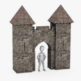 Personaje de dibujos animados con el edificio medieval - puerta Imágenes de archivo libres de regalías