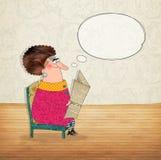 Personaje de dibujos animados con la burbuja del discurso Fotos de archivo libres de regalías