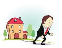 Personaje de dibujos animados con la cadena y la casa del hierro Fotos de archivo libres de regalías