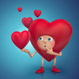 Personaje de dibujos animados confuso divertido del corazón Fotos de archivo
