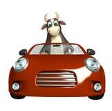 Personaje de dibujos animados de Bull con el coche Imágenes de archivo libres de regalías