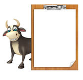 Personaje de dibujos animados de Bull con el cojín del examen Foto de archivo