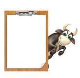 Personaje de dibujos animados de Bull con el cojín del examen Stock de ilustración