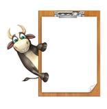 Personaje de dibujos animados de Bull con el cojín del examen Fotos de archivo libres de regalías