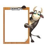 Personaje de dibujos animados de Bull con el cojín del examen Imagenes de archivo